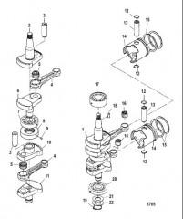 Схема Коленчатый вал, поршни и шатун