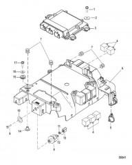 Схема Электрические компоненты Кронштейн и модуль управления гребной установкой