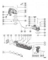 Схема Выхлопной коллектор и коленчатый патрубок (БОРТОВЫЕ ДВИГАТЕЛИ)