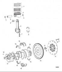 Схема Компоненты двигателя (Коленчатый вал / поршни / шатуны)