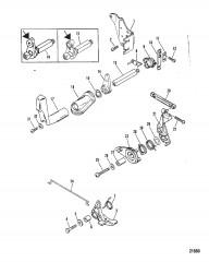 Тяга газа/тяга управления переключением передач (Модели с боковым реверсом)