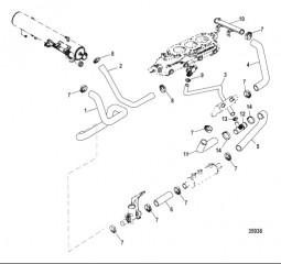 Система охлаждения Компоненты для неочищенной воды, левый борт (AXIUS)