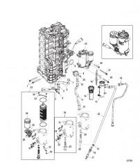 Блок цилиндров правого борта/Маслоохладитель