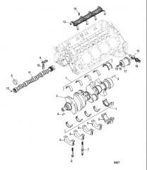 Схема Блок цилиндра (Распределительный вал и коленчатый вал)