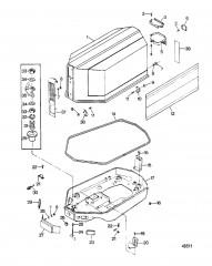 Схема Крышка двигателя и опорная пластина
