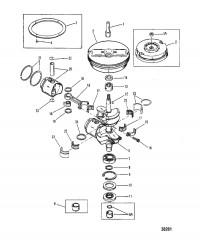 Схема КОЛЕНЧАТЫЙ ВАЛ, ПОРШНИ И МАХОВИК (15)