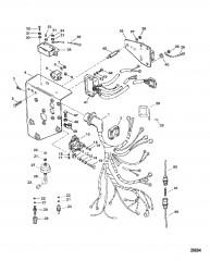 Схема Электрические компоненты (Сер. номера от 0F745260 до 0F877734)
