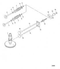 Схема Распределительный вал и клапаны Сер. № 0R318095 и ниже