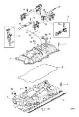 Схема Впускной коллектор и топливная направляющая