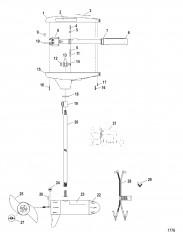 Двигатель для тралового лова в сборе (Модель TT2500) (12 В)