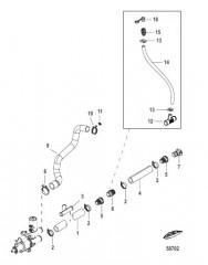 Схема Охлаждение неочищенной водой (Bravo) шланги насоса забортной воды