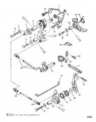 Схема Тяга газа/тяга управления переключением передач (Модели румпельной рукоятки)