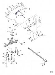Рычаг газа и шток механизма переключения передач (С/н 0T818234 и ниже)