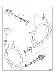 Схема Топливопровод в сборе (Зажим на разъемном соединении – сторона бака, старые модели)