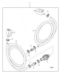 Схема Топливопровод в сборе  (Двойной зажим на разъемном соединении – конструкция I)