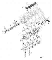 Схема Cylinder Block (Camshaft and Crankshaft)