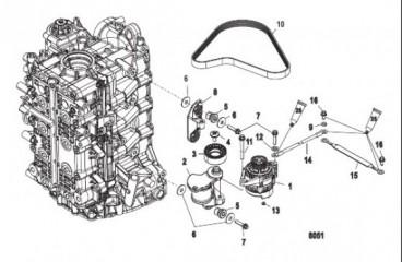 Схема Монтаж генератора/натяжного устройства ремня