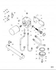 Схема Маслоохладитель и масляный фильтр