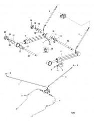 Схема Цилиндры системы дифферента и гидравлические шланги (Стандартные транцы)