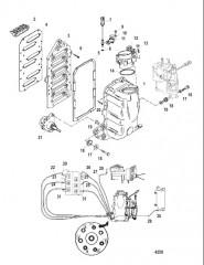 Схема Компоненты блока подачи воздуха (Серийный номер от 0E418534 до 0E433689)