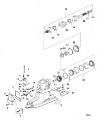 Схема Компоненты универсального шарнира/механизма переключения (Привод X)