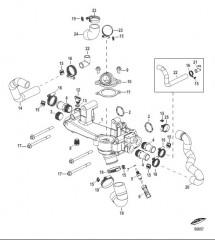 Схема Охлаждение пресной водой Перепускная труба в сборе