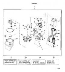 Схема НАСОС/ДВИГАТЕЛЬ (РЕЗЕРВУАР С ВЕРХНИМ КРЕПЛ.)(КОНСТРУКЦИЯ II – 14336A25)
