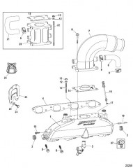 Схема Выхлопной коллектор Коленчатый патрубок и подъемный патрубок