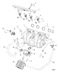 Схема Система впуска Топливная направляющая, корпус дроссельной заслонки, впускной коллектор