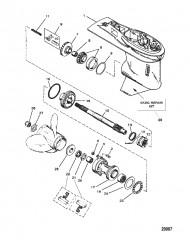 Картер редуктора в сборе (Гребной вал) (6-кулачковая реверсивная муфта сцепления)