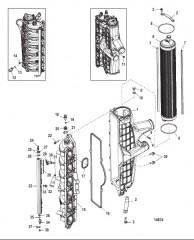 Схема Охладитель нагнетаемого воздуха/впускной коллектор