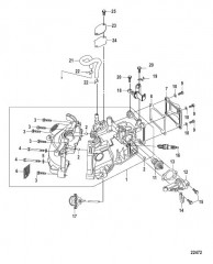 Схема Блок цилиндра Модели, не соответствующие EPA, сер. номер 0R448033 и выше