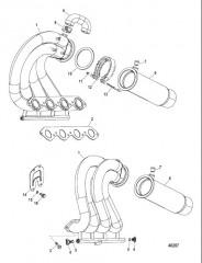 Компоненты выхлопной системы Конструкция I (0M971641 и ниже)