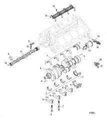 Схема Блок цилиндров, распределительный вал и коленчатый вал