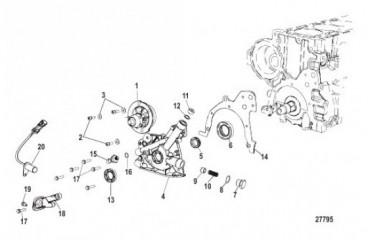 Схема Блок цилиндра Масляный насос и водяной насос