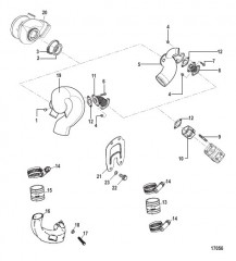 Схема Турбонагнетатель и выхлопной коленчатый патрубок