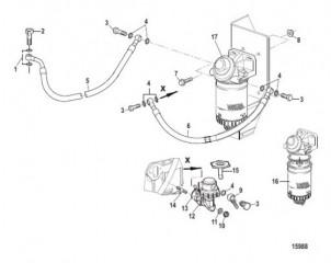 Схема Топливный насос и фильтр (Все механические двигатели)