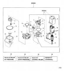 Схема НАСОС/ДВИГАТЕЛЬ (РЕЗЕРВУАР С ВЕРХНИМ КРЕПЛ.)(КОНСТРУКЦИЯ I – 14336A20)