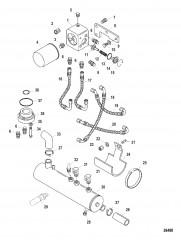 Схема Корпус термостата и охладитель масла