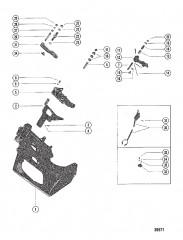 Схема ТРАНЦЕВАЯ ПЛИТА И РЫЧАГ ПЕРЕКЛЮЧЕНИЯ ПЕРЕДАЧ (РЯДНЫЕ ДВИГАТЕЛИ)