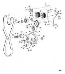 Компоненты двигателя (Впуск воды и приводной ремень)