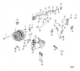 Схема Electrical Components Starter, Alternator, and Coil Bracket