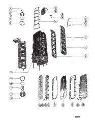 Схема КОЛПАЧКИ, КОЛЛЕКТОР И ВЫХЛОПНЫЕ КРЫШКИ