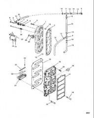 Блок с пластинчатыми клапанами и головка цилиндра
