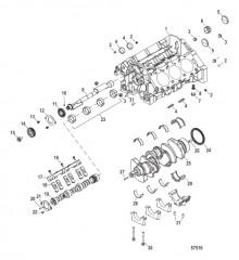 Схема Блок цилиндров, распределительный вал, коленчатый вал и балансировочный вал