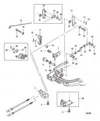 Схема Throttle/Shift Linkage 9.9 Remote Models