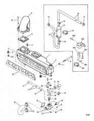 Схема Выхлопной коллектор и водяная система (Однокомп. коллектор)