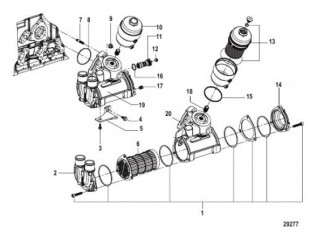 Схема Oil Cooler and Filter Assembly