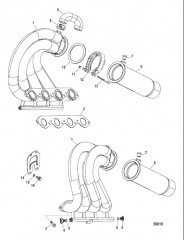 Выпускной коллектор / выводящая труба глушителя в сборе