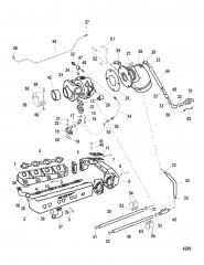 Схема Выхлопной коллектор и турбонагнетатель